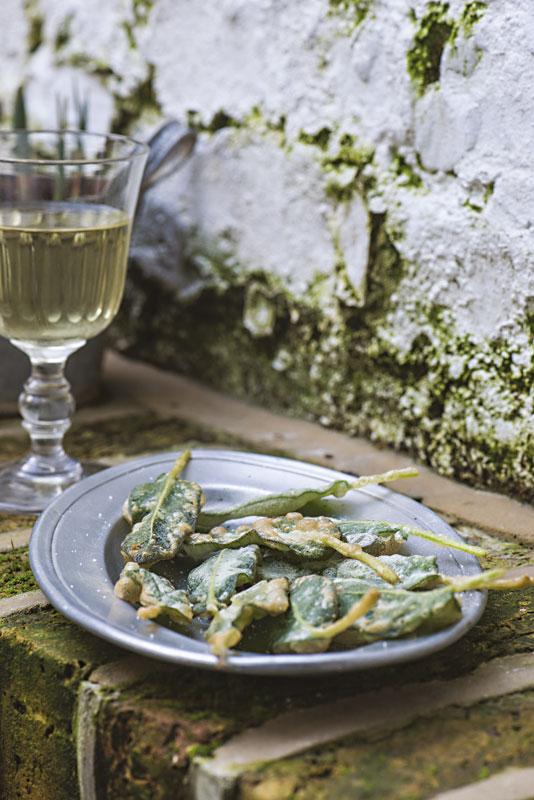 Auf einem Mauervorsprung steht ein Teller mit frittierten Salbeiblättern. Dahinter ein Glas Weißwein.
