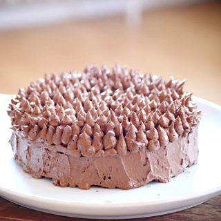 Eine Schokoladentorte mit Kaffeecreme. Die Creme ist in kleinen Tupfen auf dem Tortenboden aufgetragen.
