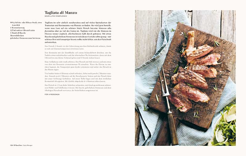 """Buchseite aus """"Florenz"""" mit einer Tagliata di Manzo (Foto: Lauren Bamford)"""