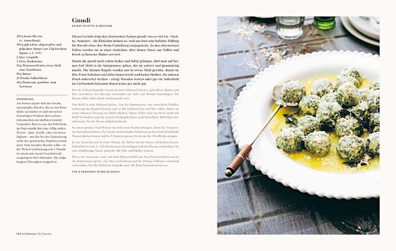 """Buchseite aus """"Florenz"""" mit einem Teller Spinat-Ricotta-Klößchen (Foto: Lauren Bamford)"""