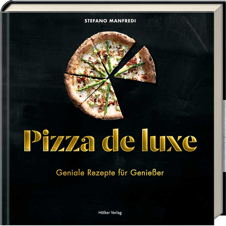 """Coverabbildung von """"Pizza de luxe"""" mit einer Pizza als Titelmotiv."""