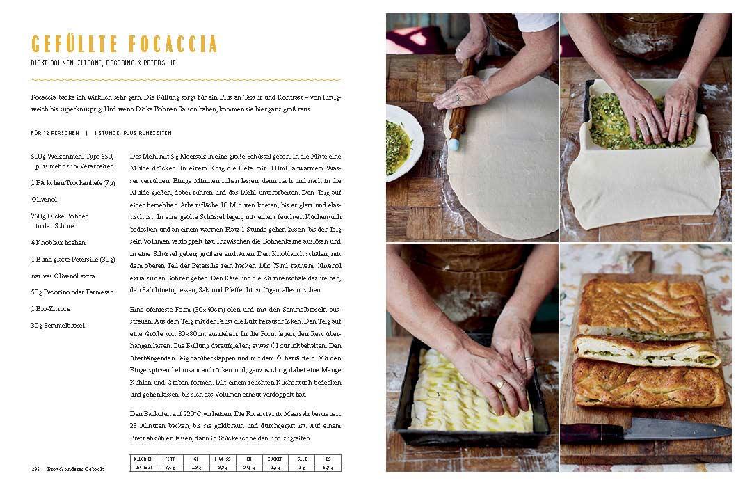 """Doppelseite aus """"Jamie kocht Italien"""": Vier Bilder, die die einzelnen Zubereitungsschritte für eine gefüllte Focaccia zeigen. Links daneben das Rezept."""