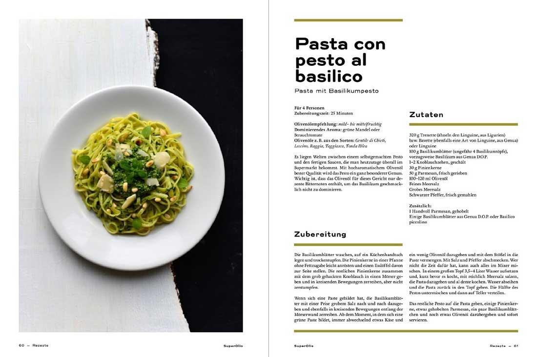 Ein Teller Pasta mit Basilikumpesto, daneben das Rezept.