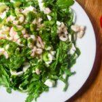 Salat mit Rucola, Mozzarella und Garnelen an Zitrone-Petersilie-Dressing