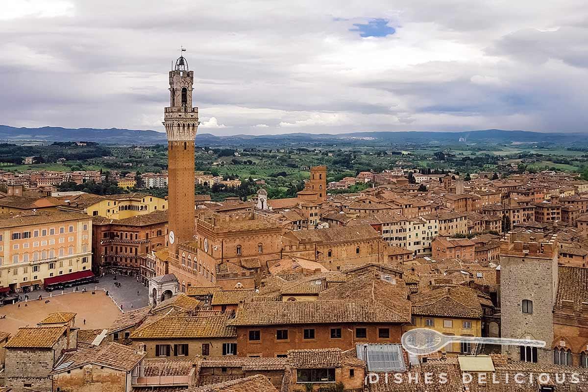 Blick über die Dächer von Siena auf den Turm Torre del Mangia.