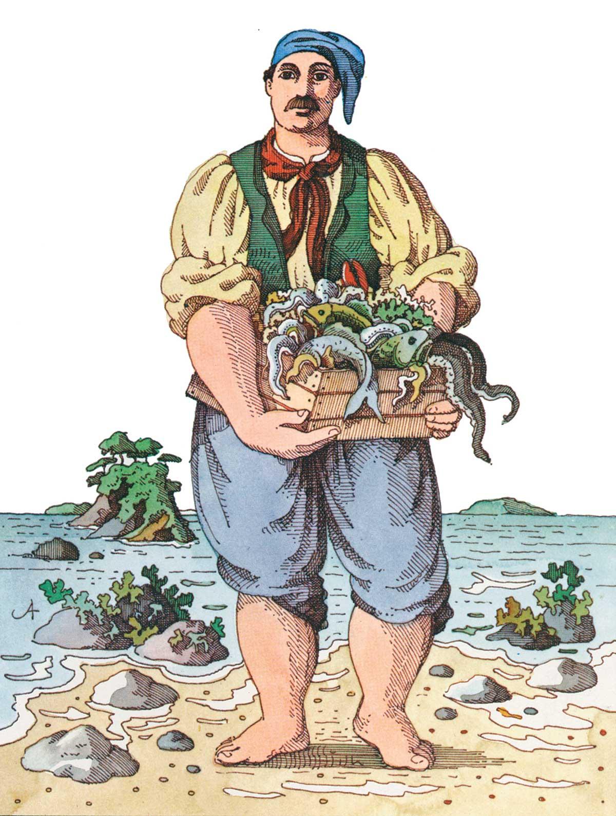Illustration eines Fischers, der ein Korb mit seinem Fang hält.