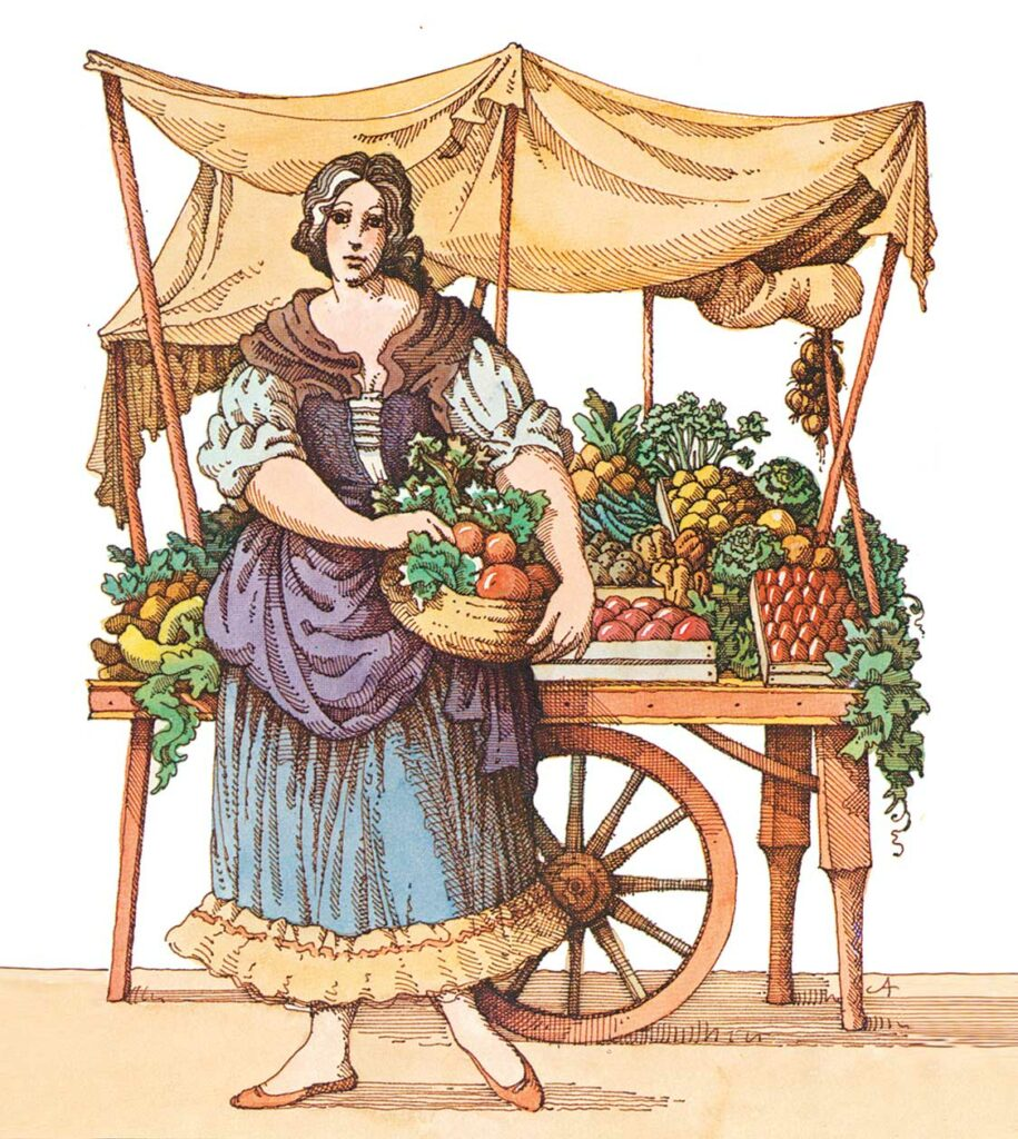 Illustration einer Gemüsehhändlerin vor einem mit früchten bestückten Holzkarren.