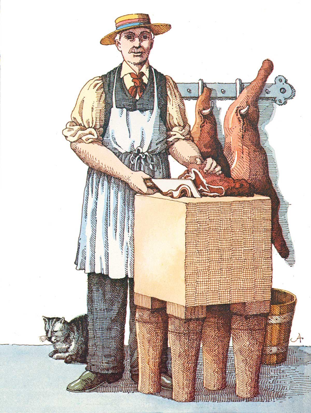 Illustration eines Fleischers, der auf einem Holzblock ein Stück Fleisch zuschneidet.