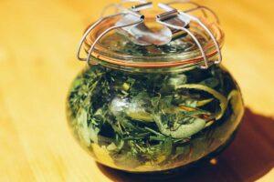 Foto von in Alkohol eingelegten Kräutern in einem Weckglas.
