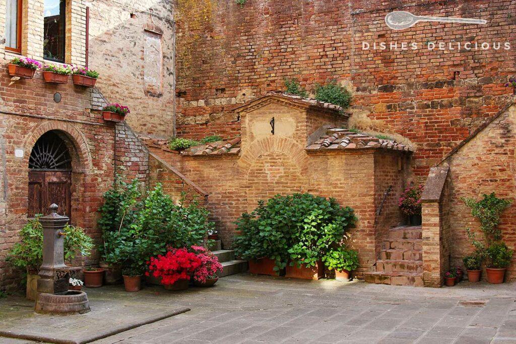 Foto eines Innenhofs mit einem kleinen Wasserbrunnen. Der Hof ist mit Pflanzen geschmückt.