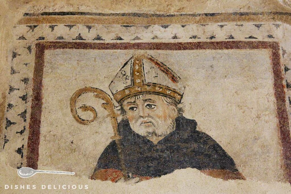 Foto von einem Fresko eines Bischofs in Montemerano.