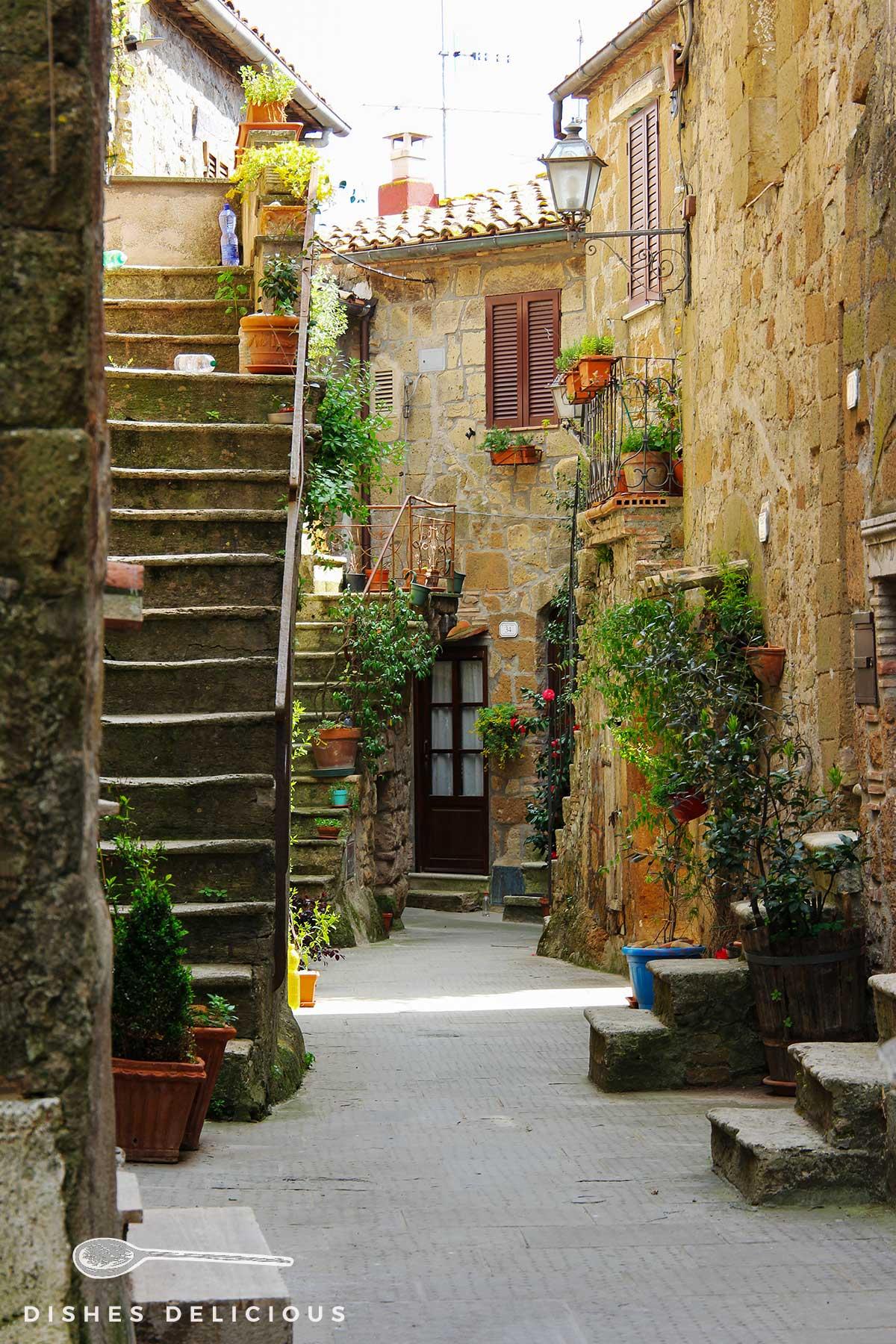 Foto einer mit Pflanzen geschmückten Gasse in Pitigliano. Eine Treppe führt zu einem Hauseingang.