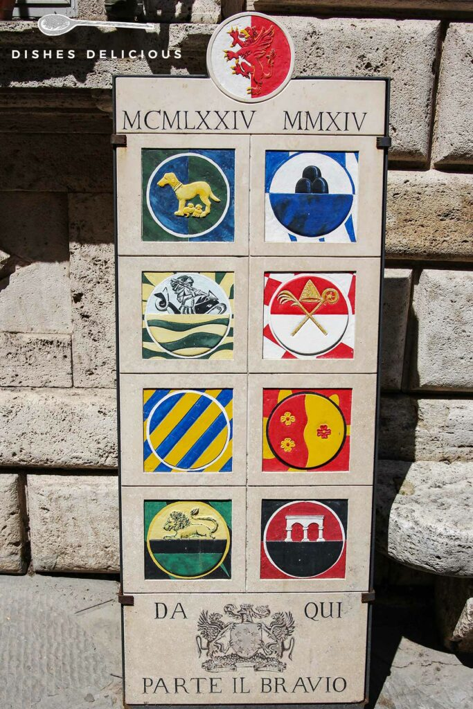 Foto von einer gekachelten Tafel mit den acht Wappen der Stadtteile von Montepulciano.