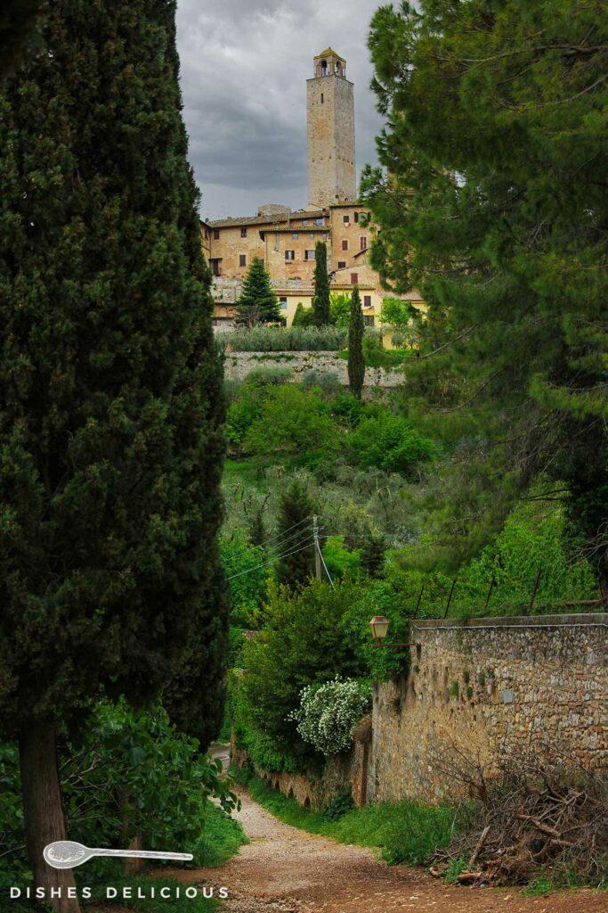 Foto eines Weges entlang der Stadtmauer von San Gimignano, im Hintergrund sieht man einen Geschlechterturm.