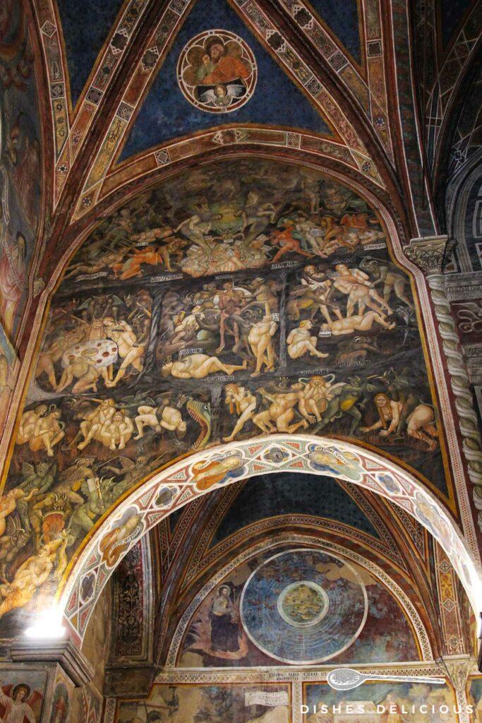 Bild von Fresken mit Bibelszenen im Dom von San Gimignano.